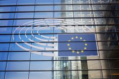 26. Oktober Belgien, Brüssel Gebäude des Europäischen Parlaments lizenzfreies stockfoto