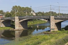 Oktober-Brücke in der Stadt von Vologda Stockbilder