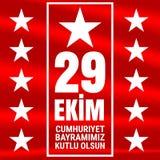 29 Oktober Cumhuriyet Bayrami, republikdag Turkiet, diagram för designbeståndsdelar också vektor för coreldrawillustration Arkivfoton
