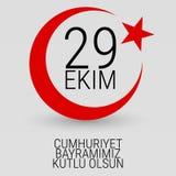 29 Oktober Cumhuriyet Bayrami, republikdag Turkiet, diagram för designbeståndsdelar också vektor för coreldrawillustration Royaltyfri Bild
