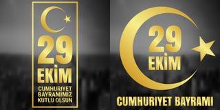 29 Oktober Cumhuriyet Bayrami, republikdag Turkiet, diagram för designbeståndsdelar också vektor för coreldrawillustration Arkivfoto