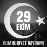 29 Oktober Cumhuriyet Bayrami, republikdag Turkiet, diagram för designbeståndsdelar också vektor för coreldrawillustration Fotografering för Bildbyråer