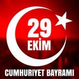 29 Oktober Cumhuriyet Bayrami, republikdag Turkiet, diagram för designbeståndsdelar Vektorillustration med vit text på en röd bak Royaltyfri Bild