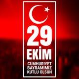 29 Oktober Cumhuriyet Bayrami, republikdag Turkiet, diagram för designbeståndsdelar Vektorillustration med vit text på en röd bak Arkivfoton