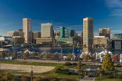 28 OKTOBER, 2016 - de Binnenverlichting van de de Haven recente middag van Baltimore van schepen en horizon, Baltimore, Maryland, Royalty-vrije Stock Afbeeldingen