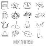 Oktober-de reeks van het maandthema overzichtspictogrammen royalty-vrije illustratie