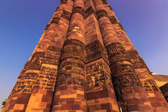 27 oktober, 2014: Detail van de minaret van Qutb Minar in Nieuw Royalty-vrije Stock Foto's