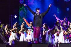 15 OKTOBER, 2016, EDISON, NJ - Prabhu Deva en de Indische Dansers presteren voor Donald Trump in Edison New Jersey Hindu Indian-A Stock Afbeeldingen