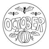 Oktober färgläggningsidor för ungar stock illustrationer