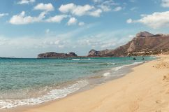 3 oktober, 2017, Falasarna, Kreta, Griekenland - Mening van het strand van Falasarna royalty-vrije stock afbeeldingen