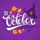 31 Oktober, Halloween-groetkaart met de herfstbladeren van de heksenhoed Royalty-vrije Stock Afbeeldingen