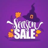 31 Oktober, Halloween-verkoopbanner met de herfst van de heksenhoed verlaat a Stock Afbeeldingen