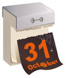 Oktober Halloween 31 Zwarte Bladscheur van kalender Stock Afbeeldingen