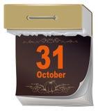 Oktober Halloween 31 Zwarte Bladscheur van kalender Stock Foto's