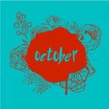 Oktober-Handbeschriftung vektor abbildung