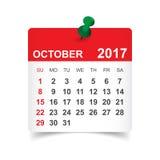 Oktober 2017 kalender Royaltyfria Foton