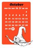 Oktober kalender med skallen royaltyfri illustrationer