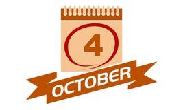 4. Oktober Kalender mit Band Lizenzfreies Stockbild