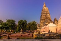 30 oktober, 2014: Mahabodhi Boeddhistische tempel in Bodhgaya, Ind. Stock Foto's