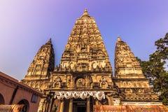 30 oktober, 2014: Mahabodhi Boeddhistische tempel in Bodhgaya, Ind. Stock Foto
