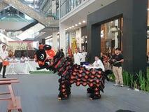 29. Oktober 2016 2. malaysischer nationaler traditioneller Lion Dance Championship 2016 bei einer Stadt Subang USJ, Malaysia Lizenzfreies Stockbild