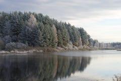 Oktober morgonfrost på skogsjön Pskov region, Ryssland Arkivfoto