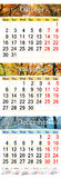 Oktober November en December 2017 met gekleurde beelden in vorm van kalender Stock Fotografie