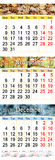 Oktober November und Dezember 2017 mit farbigen Bildern in der Form des Kalenders Stockbilder
