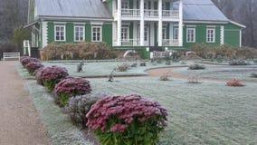 Oktober-ochtend bij het landgoed van Petrovskoe Pushkinbergen, Rusland stock footage