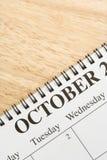 Oktober op kalender. stock afbeelding