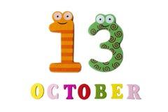 Oktober 13 på vita bakgrund, nummer och bokstäver Royaltyfri Fotografi