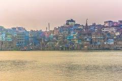 31 oktober, 2014: Panorama van Varanasi, India Stock Afbeeldingen