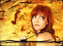 Oktober Portrait. Beautiful red-haired girl with expressive eyes Royalty Free Stock Image