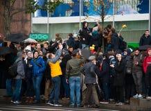 2017 - 7 OKTOBER, Rusland Moskou: grote groep mensen op protest Stock Fotografie