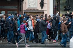 2017 - 7 OKTOBER, Rusland Moskou: mensen bij de peacful verzameling Stock Foto