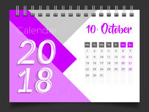 Oktober 2018 Skrivbordkalender 2018 Royaltyfri Bild