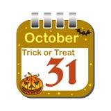 Oktober trettio ett kalenderark Royaltyfria Foton