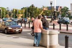 2 oktober, 2014: Washington, gelijkstroom - mensen die door Unie reizen Royalty-vrije Stock Fotografie