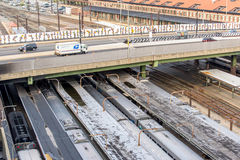 2 oktober, 2014: Washington, gelijkstroom, Treinen in Unie Statio worden getrokken die Royalty-vrije Stock Foto's