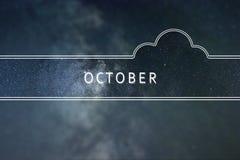 OKTOBER-Wortwolke Konzept Nächtlicher Himmel mit vielen Sternen lizenzfreie stockfotos