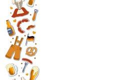 oktoberfest明信片设计的概念 设置与字法的传染媒介例证 向量例证