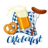 Oktoberfest ölfestival Illustration eller affisch för festmåltid Royaltyfri Bild