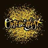 Oktoberfest γράφοντας καλλιγραφίας βουρτσών κειμένων χρυσός αυτοκόλλητων ετικεττών διακοπών διανυσματικός Στοκ Φωτογραφία