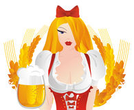 Oktoberfest. The beautiful fair-haired girl in the national German dress with beer mugs Royalty Free Stock Photography