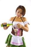 亚裔Oktoberfest女服务员 图库摄影
