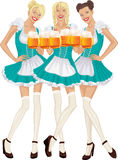 Oktoberfest. Three beautiful women in traditional Bavarian clothes with mugs of beer isolated over white background. Vector illustration Stock Images
