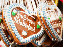 Oktoberfest. Typical gingerbread hearts at the oktoberfest in munich - greetings from the oktoberfest Royalty Free Stock Images