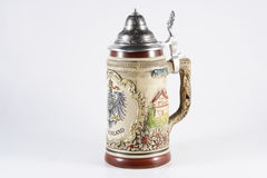 Oktoberfest. A beer stein waiting or some beer royalty free stock photo