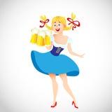 Милая девушка Oktoberfest шаржа Стоковые Изображения