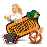 Oktoberfest accordion beer girl pretzel icon Stock Photo